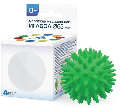 Купить Массажер медицинский альпина пласт иглбол 65мм/зеленый цена