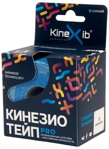 Бинт нестерильный адгезивный восстанавливающий kinexib pro синий 5смx5м /кинезио тейп/