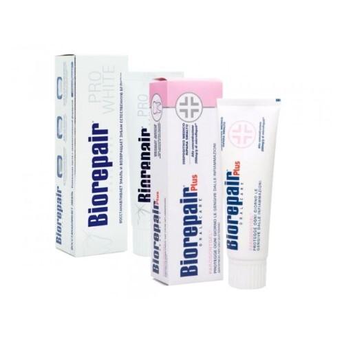 Купить Набор biorepair зубная паста про вайт 75мл + biorepair зубная паста плюс пародонтгель 75мл по специальной цене цена