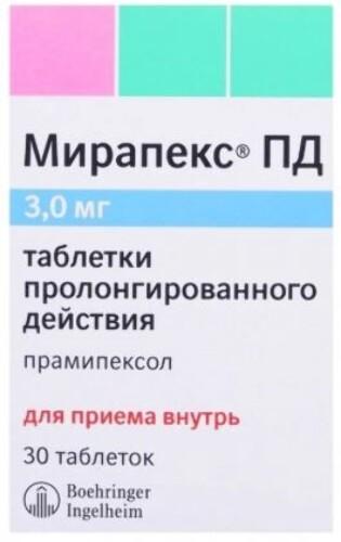 Купить Мирапекс пд 0,003 n30 табл пролонг цена