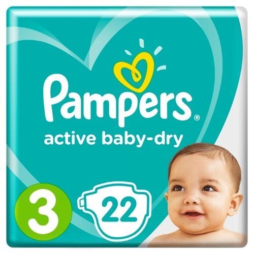 Купить PAMPERS ACTIVE BABY-DRY ПОДГУЗНИКИ РАЗМЕР 3 N22 цена
