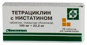 Купить Тетрациклин с нистатином 0,1+0,0222 n10 табл п/о цена