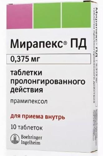 Купить Мирапекс пд 0,000375 n10 табл пролонг цена