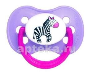 Купить Соска-пустышка латексная animals 0-6/розовый цена