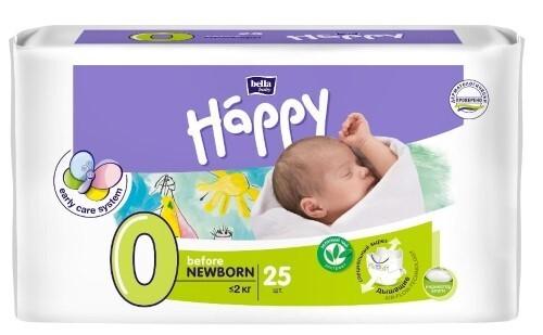 Купить BELLA BABY HAPPY ПОДГУЗНИКИ ДЕТСКИЕ РАЗМЕР 0 BEFORE NEWBORN МЕНЕЕ 2КГ N25 цена