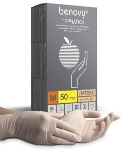 Купить Перчатки смотровые benovy латексные нестерильные опудренные м n50 пар цена