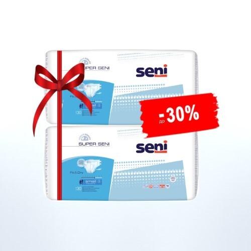 Набор SENI SUPER ПОДГУЗНИКИ Д/ВЗР SMALL N30 из 2-х уп по специальной цене
