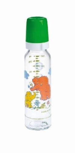 Купить Бутылочка стеклянная с силиконовой соской 240мл 12+/зеленый цена