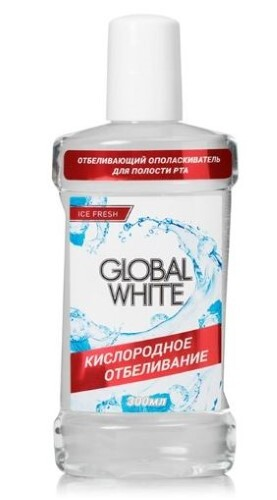 Купить GLOBAL WHITE ОПОЛАСКИВАТЕЛЬ ДЛЯ ПОЛОСТИ РТА ОТБЕЛИВАЮЩИЙ 300МЛ цена