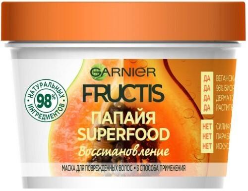 Купить Fructis superfood папайя восстановление маска 3в1 для поврежденных волос 390мл цена