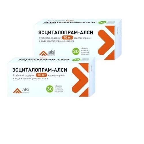 Набор 2-х упаковок Эсциталопрам-АЛСИ 10 мг №30 со скидкой до 30%!