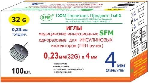 Купить Иглы мед инъекц однораз д/инсулиновых инжекторов (пен ручек) 32g 0,23х4мм n100/sfm цена