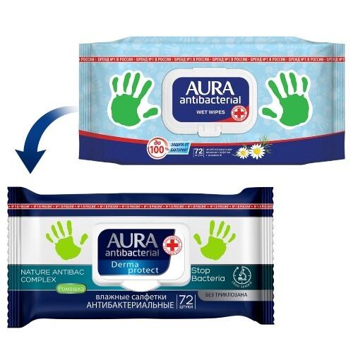 Купить Влажные салфетки антибактериальные ромашка 72шт с крышкой кожный антисептик цена