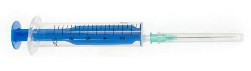 Купить Шприц 10мл двухдетальный 10б луер с иглой 0,8x40мм n600/голубой шток/ цена