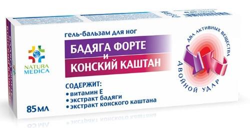 Купить NATURA MEDICA ГЕЛЬ-БАЛЬЗАМ БАДЯГА ФОРТЕ И КОНСКИЙ КАШТАН 85МЛ цена