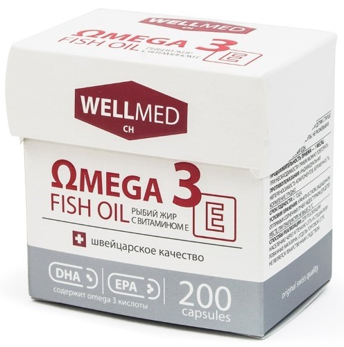 Купить OMEGA 3 FISH OIL+E РЫБИЙ ЖИР С ВИТАМИНОМ Е N200 КАПС ПО 260МГ цена