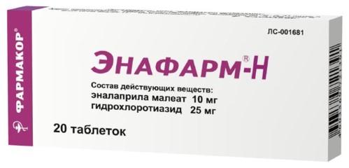 Купить ЭНАФАРМ-Н 0,025+0,01 N20 ТАБЛ цена