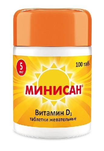 Купить МИНИСАН ВИТАМИН Д3 5МКГ N100 ЖЕВ ТАБЛ цена