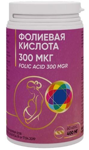Купить ФОЛИЕВАЯ КИСЛОТА 300МКГ N60 КАПС ПО 400МГ цена
