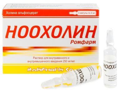 Купить НООХОЛИН РОМФАРМ 0,25/МЛ 4МЛ N3 АМП Р-Р В/В В/М цена