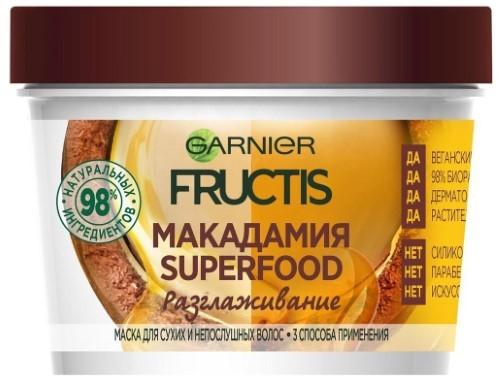 Купить Fructis superfood макадамия разглаживание маска 3в1 для сухих и непослушных волос 390мл цена