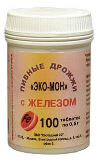 Купить ПИВНЫЕ ДРОЖЖИ ЭКО-МОН С ЖЕЛЕЗОМ N100 ТАБЛ МАССОЙ 0,45Г цена