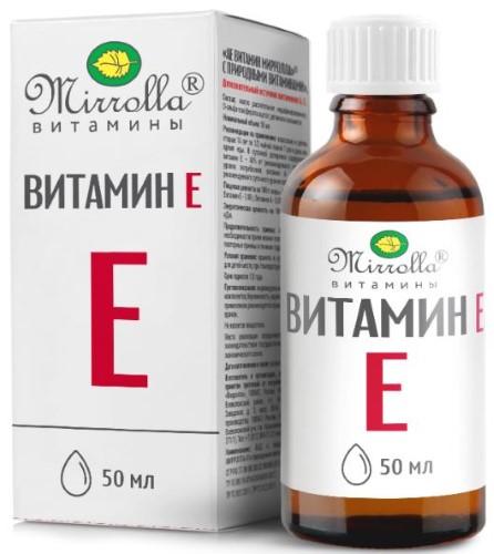 Купить ВИТАМИН Е-ПРИРОДНЫЙ (ТОКОФЕРОЛ) МИРРОЛЛА 50МЛ ФЛАК цена